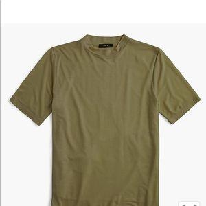 J.Crew Mock-neck Lyocell T-shirt green